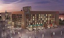 So soll es aussehen: Der künftige Gebäudekomplex West 4 mit Motel One und Adina