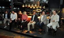 Die Podiumsteilnehmer: (von links) Paul Ivic,Thomas Imbusch, Julia Komp, Moderatorin Gabriele Heins,Thomas Kellermann, Dirk Luther und Billy Wagner