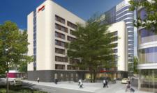 Neu geplantes Haus: Ein Rendering des künftigen Hampton by Hilton Frankfurt Airport