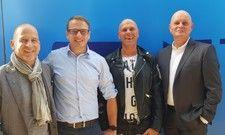 Stehen hinter der Strategie: (von links) Frédéric Schumacher, Director Innovation bei der Metro, die Gastronomen Stefan Müller-Kaufmann und René Dost und Olaf Koch, Vorstandsvorsitender der Metro AG