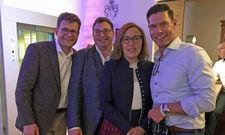 Feiern das Jubiläum in Parsdorf: (von links) Marcus Smola, Geschäftsführer Best Western Hotels Central Europe GmbH, Christian und Xenia Erb, Inhaber Best Western Plus Hotel Erb und Jochen Oehler, Geschäftsführer Progros Einkaufsgesellschaft.