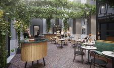 Einem Innenhof nachempfunden: Die Lobby des Staybridge Suites The Hague - Parliament in Den Haag, Niederlande