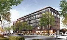 So soll's aussehen: Ein Rendering des geplanten Doppelhotels in Düsseldorf