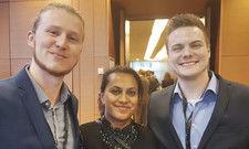 Informierten sich vor Ort: Die Azubis (von links) Leon Baron, Dalana Seidl und Niko Mohr.