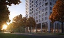 So soll's aussehen: Ein Rendering des geplanten Prizeotels in Antwerpen