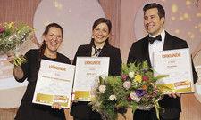 Glückliche Gesichter: Siegerin Sophie Gotte (Mitte) mit den Zweitplazierten Christina De Nardo-Hackenberg und Felix Riedl.