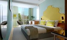 Pastellfarben schaffen mediterranes Flair: So sollen die Zimmer im neuen Falkensteiner Hotel aussehen (Rendering)