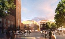 So soll's aussehen: Das neue Areal am Düsseldorfer Hauptbahnhof, das künftig auch drei Hotels beherbergen wird (Rendering)
