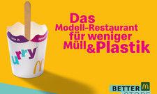 Werbeplakat für die Aktionswoche: McDonald's testet neue Lösungen