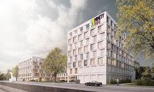 Blick in die Zukunft: Rendering des geplanten Ninetynine Hotels in Dortmund