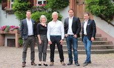 Neue und alte Eigentümer der Hirschgasse: (v.l.) Gregor Erhard, Allison Kraft, Ernest Kraft, Daniel Stern, Johannes F. Groebler.