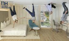 Hotelzimmer auf dem Kopf: Mit der Aktion touren die NH Hotels zurzeit durch Deutschland