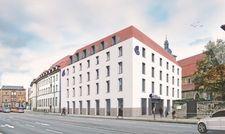 Visualisierung: Der Neubau des Boutique-Hotels der Marke Indigo komplettiert das Grundstück am Juri-Gagarin-Ring