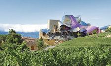 Lokale Besonderheit: Das geschwungene Titan-Dach des Hotels Marqués de Riscal
