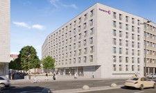 Bereits gesichert: Entwurf des künftigen Premier Inn im Zentrum von Nürnberg.