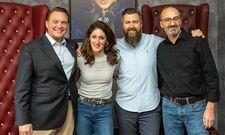 Fruchtbare Zusammenarbeit: Lea Jordan mit dem HSMA-Vorstandsmitgliedern Lars Dünker, Georg Ziegler und Zeèv Rosenberg (v.l.)
