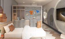 Blick in ein Stay Kooook: Ein mobiler Raumteiler soll eine flexible Nutzung des Zimmers ermöglichen