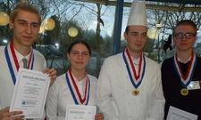 Die neuen Landesmeister im Gastgewerbe 2020: (von links) Maurice Neßbit, Anna Strokan, Carl Schuldt, Finn Jendrik Stotz