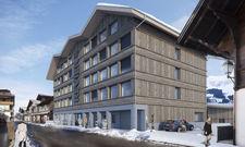 Besondere Konstruktion: Der Eingang zum Hotel in Adelboden befindet sich in der vierten Etage, da das Haus in den Hang gebaut ist