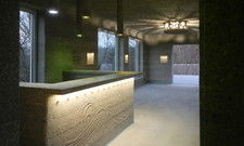 Ungewöhnlich: Gastraum, Tresen und Lampen bestehen aus gegossenem Beton