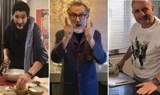 Kochen jetzt daheim: (von links) Paul Ivic, Massimo Bottura und Joannis Malathounis