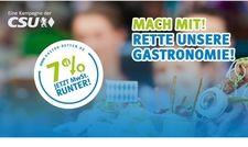 """Kampagne pro 7 Prozent: Die CSU hat die Seite """"Gastro retten"""" ins Leben gerufen"""