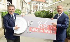 Der Wiener Bürgermeister Michael Ludwig und Walter Ruck, Chef der Wirtschaftskammer Wien, wollen die Gastronomie ankurbeln.