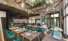Naturholzmöbel, Ziegel und Kräuterbeete an der Decke: So soll der Gastraum im Gourmetrestaurant 1950 aussehen