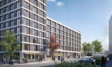 So soll's aussehen: Das geplante Zleep Hotel Zürich Kloten, eingebettet in ein neues Quartier mit einem Restaurant, Einzelhändlern und Eigentumswohnungen
