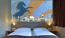 Mit Pferdemotiv: Ein Zimmer im B&B Hotel Hannover-City
