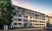 So soll's aussehen: Eine Visualisierung des künftigen Apartmenthotels in Nachbarschaft zum Cannstatter Wasen